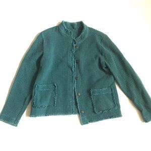 FOCUS waffle teal jacket button down frayed S